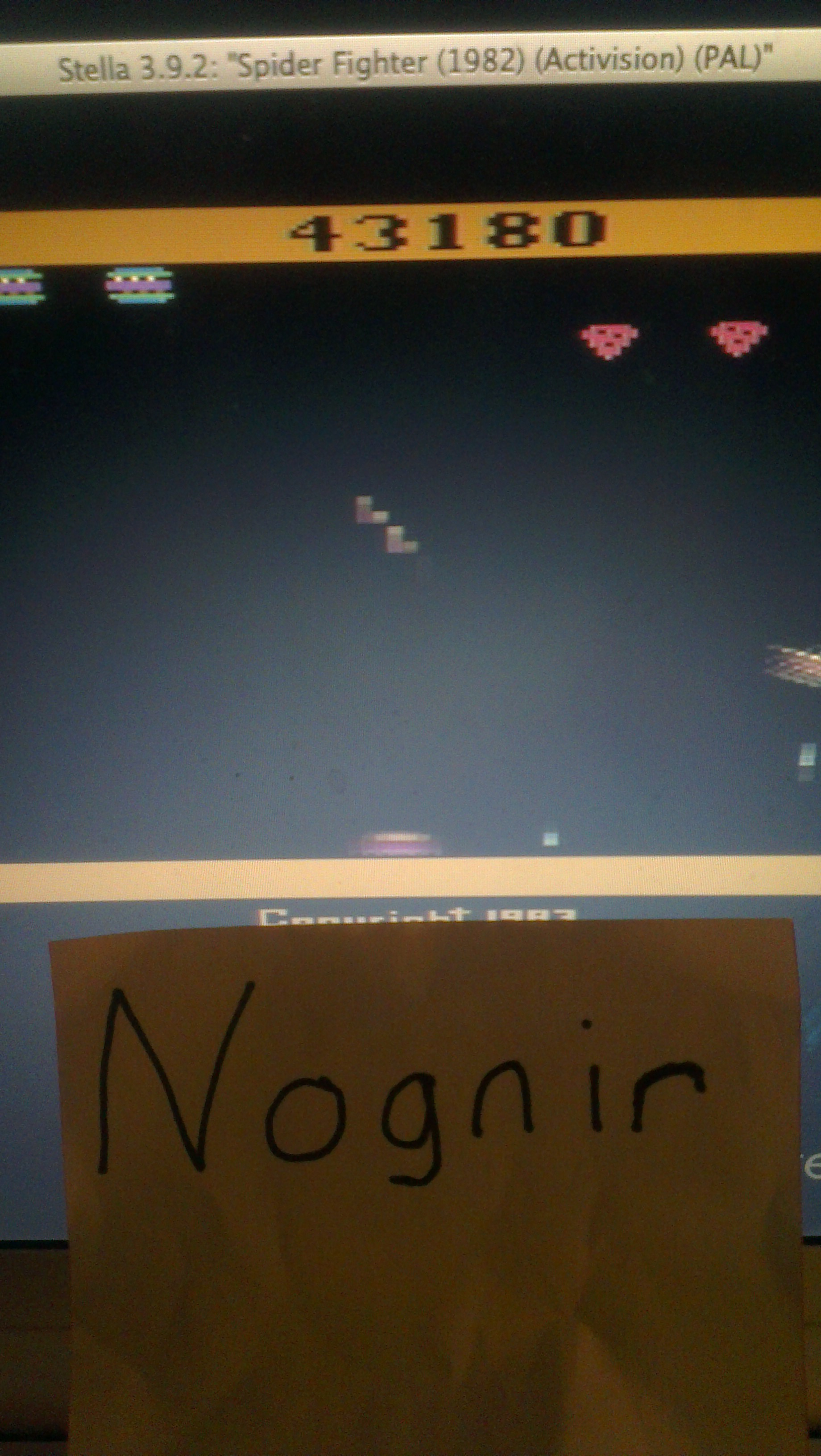 Nognir: Spider Fighter (Atari 2600 Emulated Novice/B Mode) 43,180 points on 2014-04-09 17:06:36