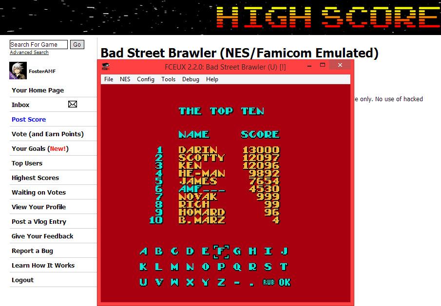 FosterAMF: Bad Street Brawler (NES/Famicom Emulated) 4,530 points on 2014-04-10 14:08:39