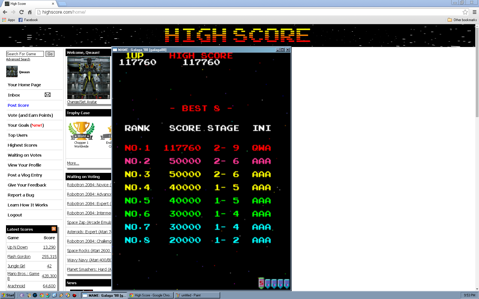 Qwaun: Galaga 88 (Arcade Emulated / M.A.M.E.) 117,760 points on 2014-04-13 23:55:40