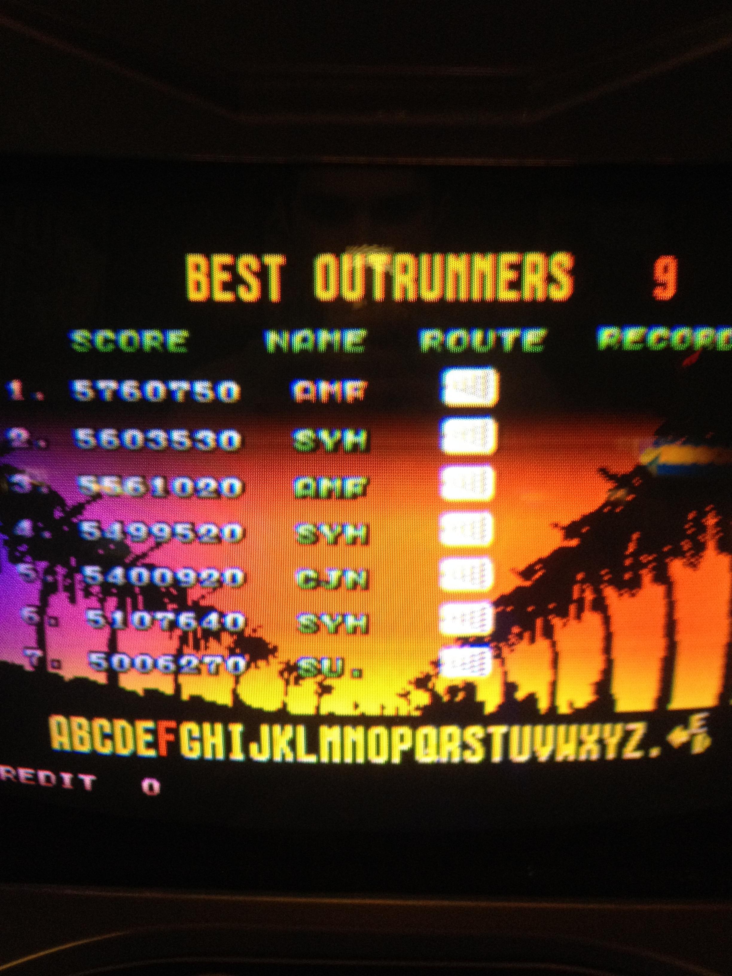 FosterAMF: Outrun (Arcade) 5,760,750 points on 2014-04-13 23:58:50