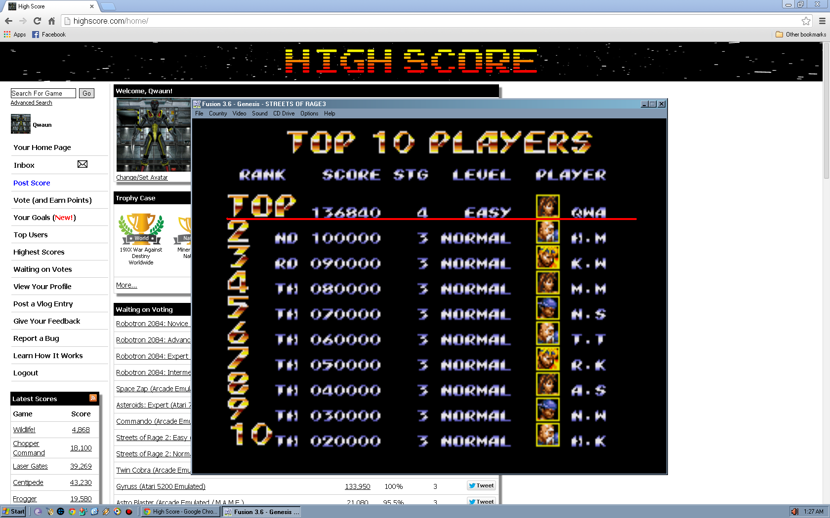 Qwaun: Streets of Rage 3: Easy (Sega Genesis / MegaDrive Emulated) 136,840 points on 2014-04-14 11:11:08