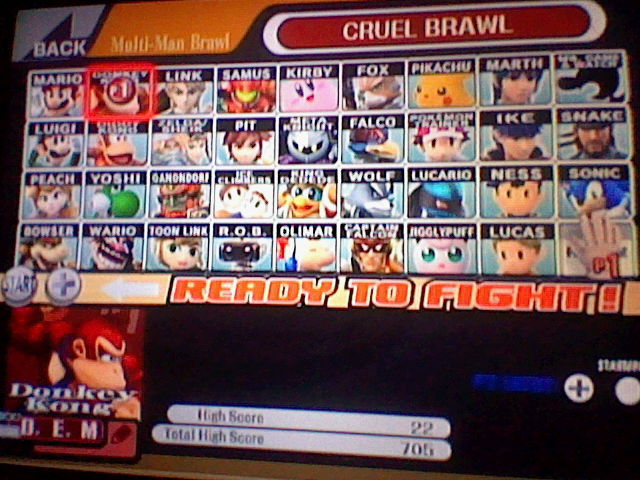 Super Smash Bros. Brawl: Cruel Brawl: Donkey Kong 22 points