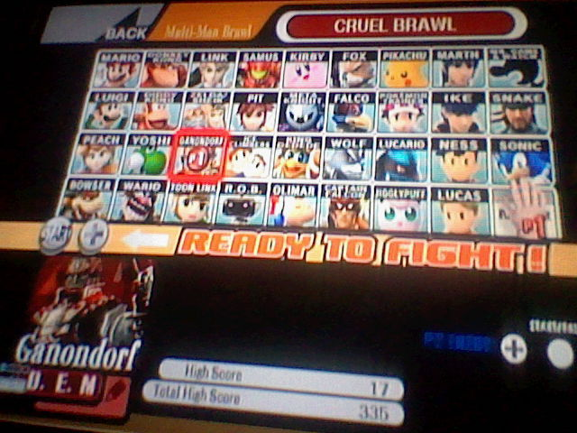DarkEonMaster: Super Smash Bros. Brawl: Cruel Brawl: Ganondorf (Wii) 17 points on 2014-04-14 14:06:03