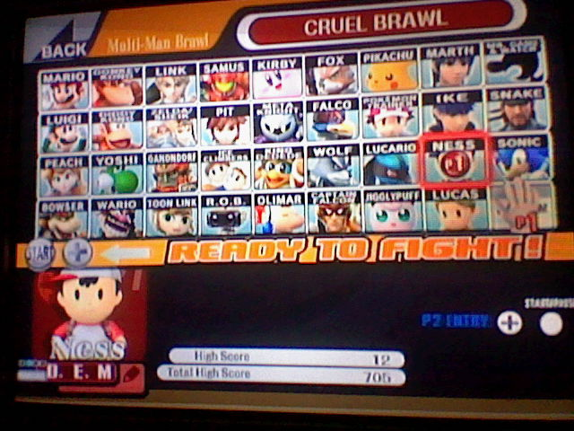 Super Smash Bros. Brawl: Cruel Brawl: Ness 12 points