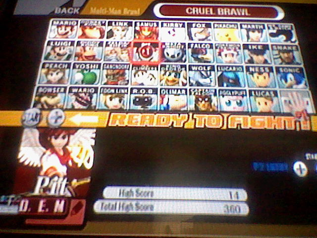 DarkEonMaster: Super Smash Bros. Brawl: Cruel Brawl: Pit (Wii) 14 points on 2014-04-14 15:11:51