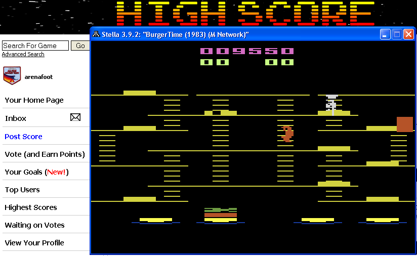 arenafoot: BurgerTime (Atari 2600 Emulated) 9,550 points on 2014-04-16 02:30:32