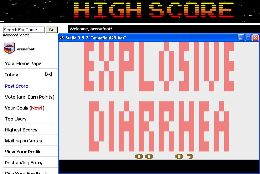 arenafoot: Explosive Diarrhea (Atari 2600 Emulated) 7 points on 2014-04-16 12:50:45