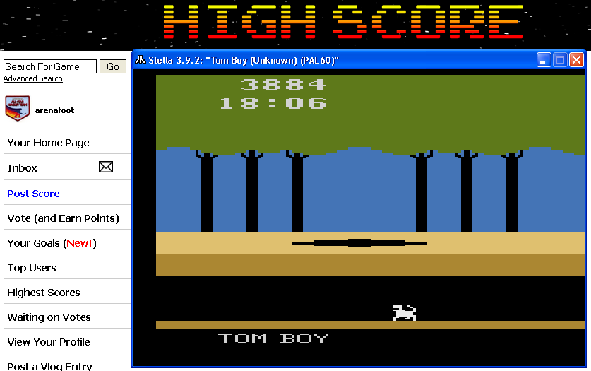 arenafoot: Tom Boy (Atari 2600 Emulated) 3,884 points on 2014-04-17 20:15:40