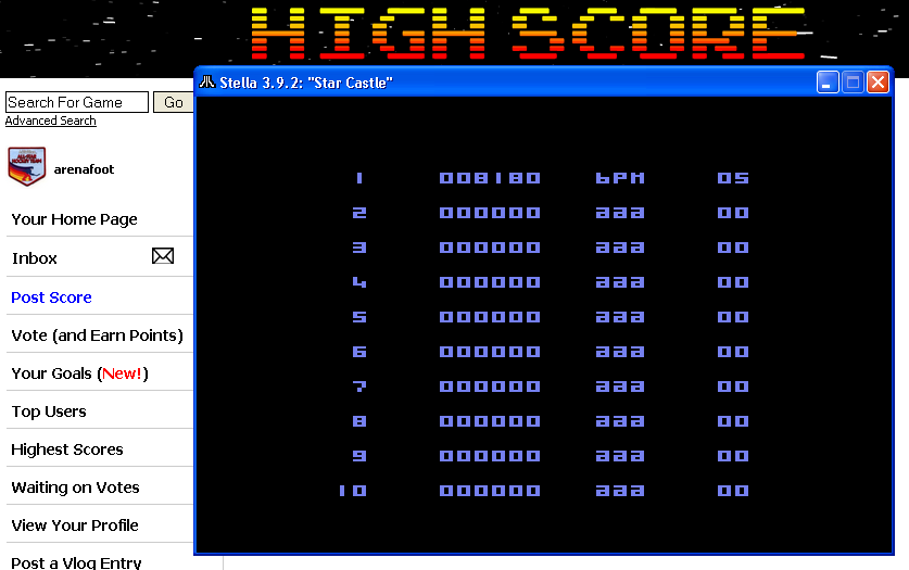arenafoot: Star Castle (Atari 2600 Emulated) 8,180 points on 2014-04-17 21:00:20