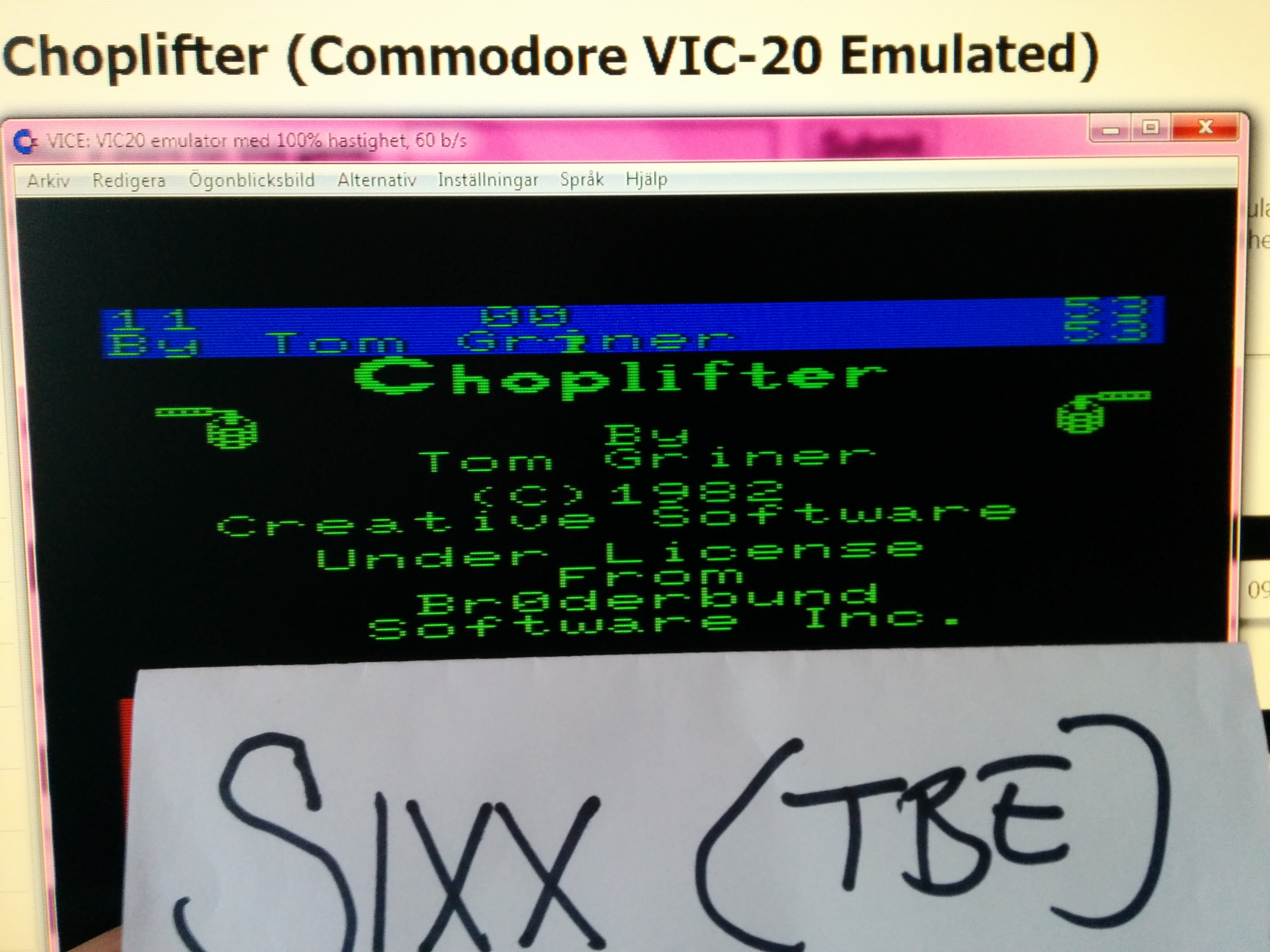 Sixx: Choplifter (Commodore VIC-20 Emulated) 53 points on 2014-04-18 12:59:37