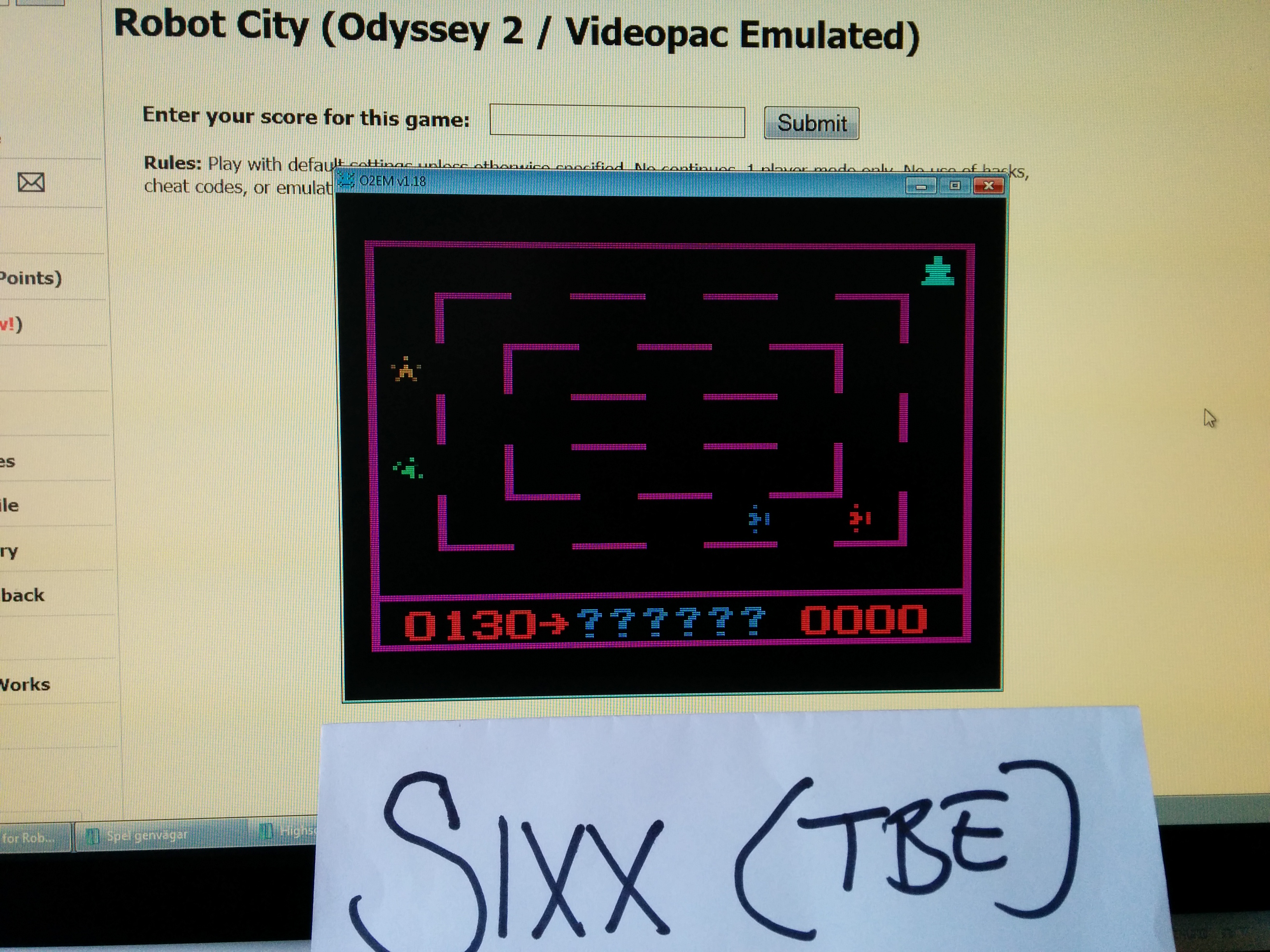 Sixx: Robot City (Odyssey 2 / Videopac Emulated) 130 points on 2014-04-19 11:29:21