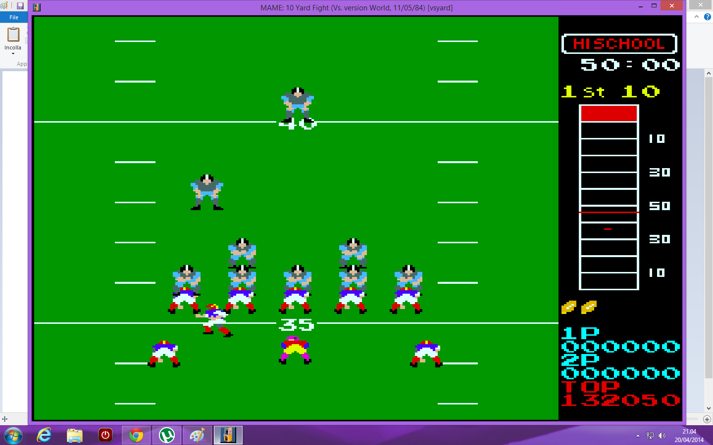lenny2571: 10 Yard Fight (Arcade Emulated / M.A.M.E.) 132,050 points on 2014-04-20 14:05:32