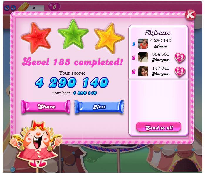 nahid: Candy Crush Saga: Level 185 (iOS) 4,290,140 points on 2014-04