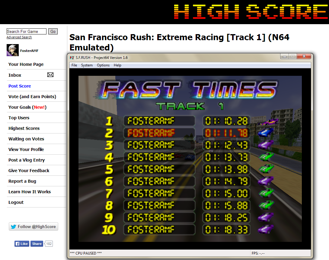 FosterAMF: San Francisco Rush: Extreme Racing [Track 1] (N64 Emulated) 0:01:10.28 points on 2014-04-24 16:35:01