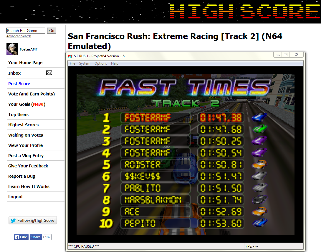 FosterAMF: San Francisco Rush: Extreme Racing [Track 2] (N64 Emulated) 0:01:47.38 points on 2014-04-24 16:53:36