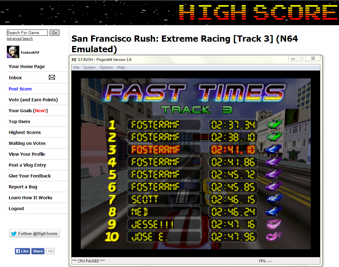 FosterAMF: San Francisco Rush: Extreme Racing [Track 3] (N64 Emulated) 0:02:37.34 points on 2014-04-24 19:13:47