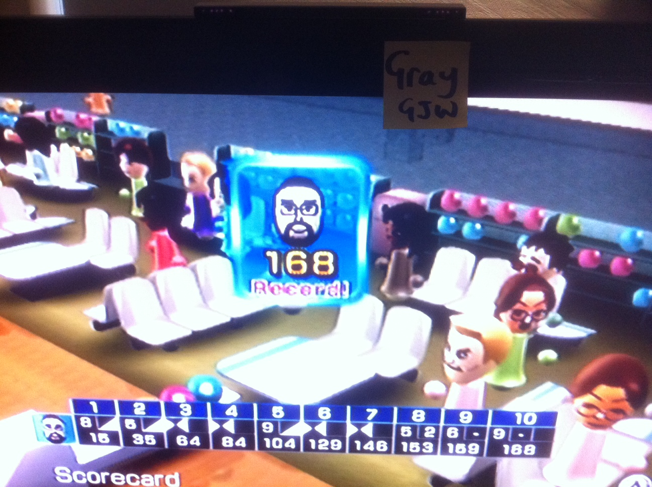 Wii Sports: Bowling [Game Score] 168 points