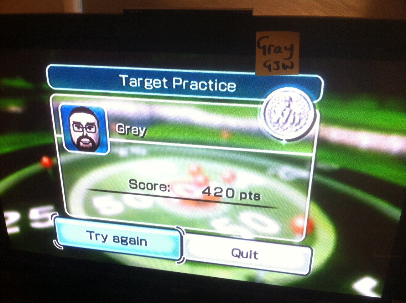 Gray: Wii Sports: Golf [Target Practice] (Wii) 420 points on 2014-04-25 03:34:46