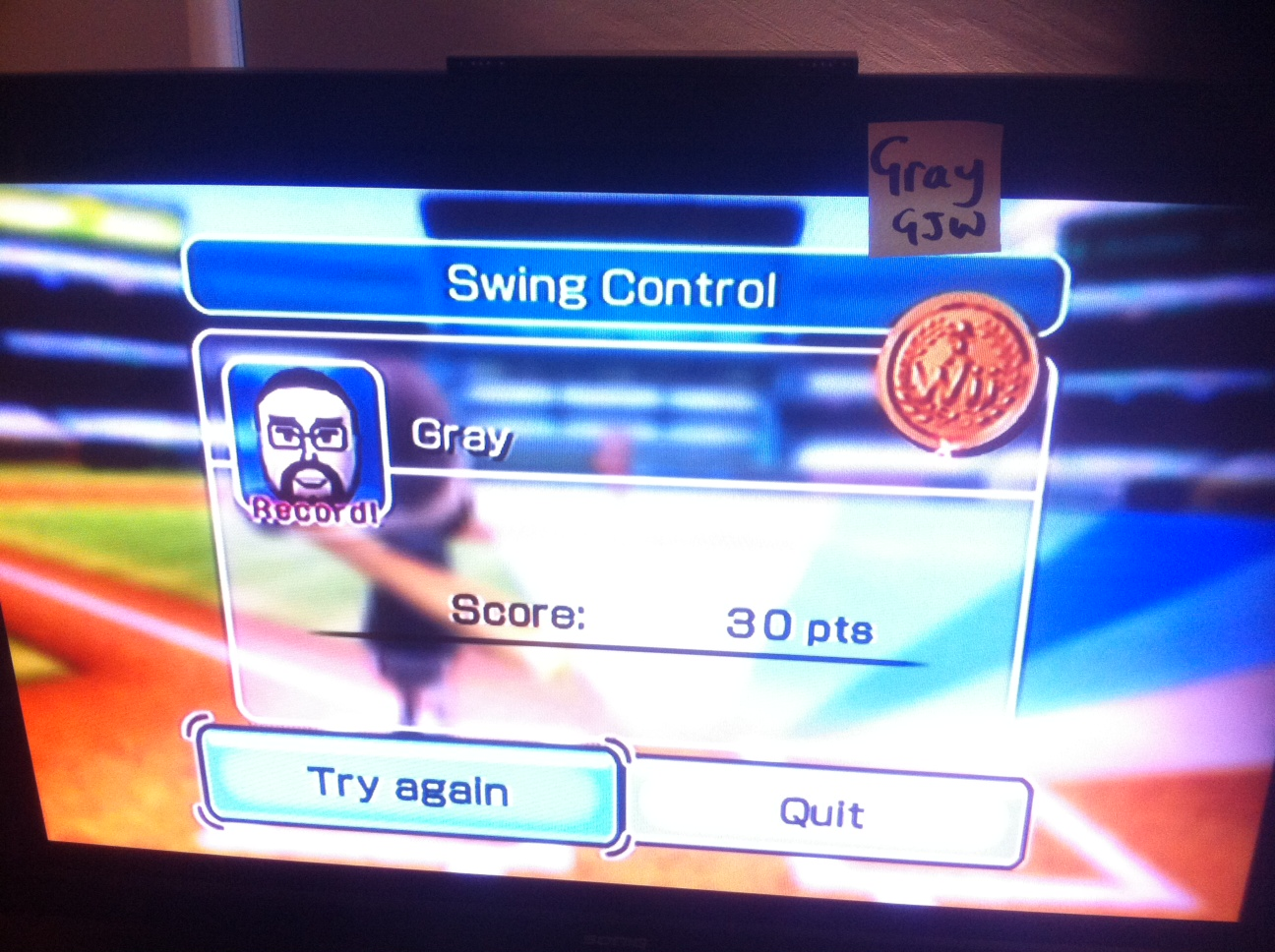 Wii Sports: Baseball [Swing Control] 30 points