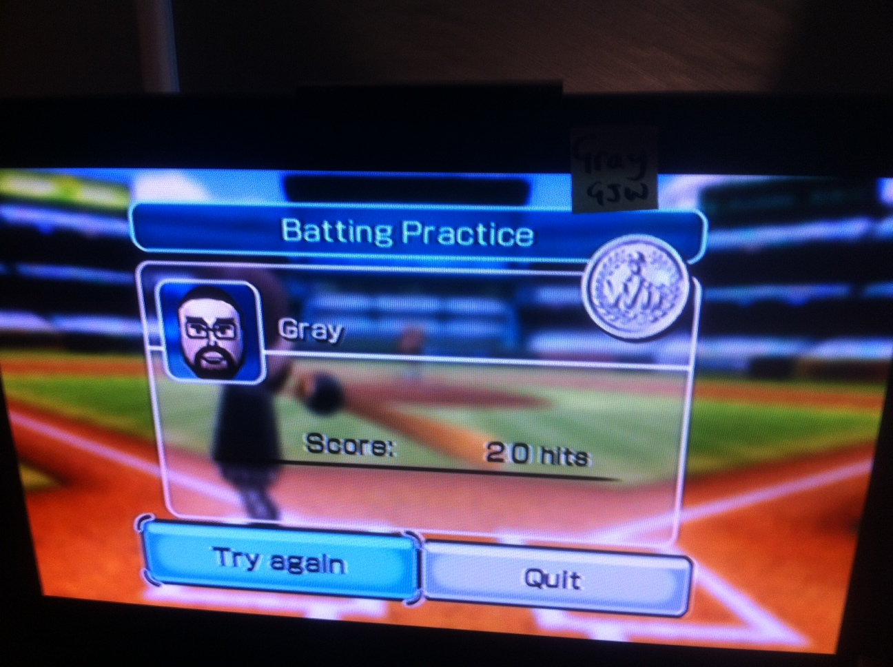 Gray: Wii Sports: Baseball [Batting Practice] (Wii) 20 points on 2014-04-25 03:40:20