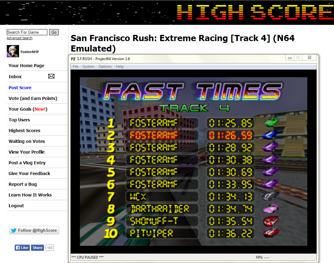 FosterAMF: San Francisco Rush: Extreme Racing [Track 4] (N64 Emulated) 0:01:25.85 points on 2014-04-25 16:19:17