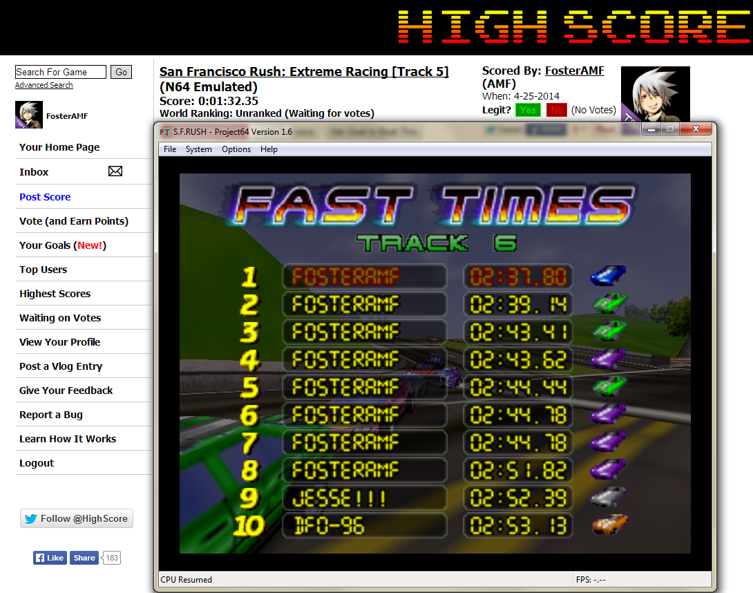 FosterAMF: San Francisco Rush: Extreme Racing [Track 6] (N64 Emulated) 0:02:37.8 points on 2014-04-25 16:39:49
