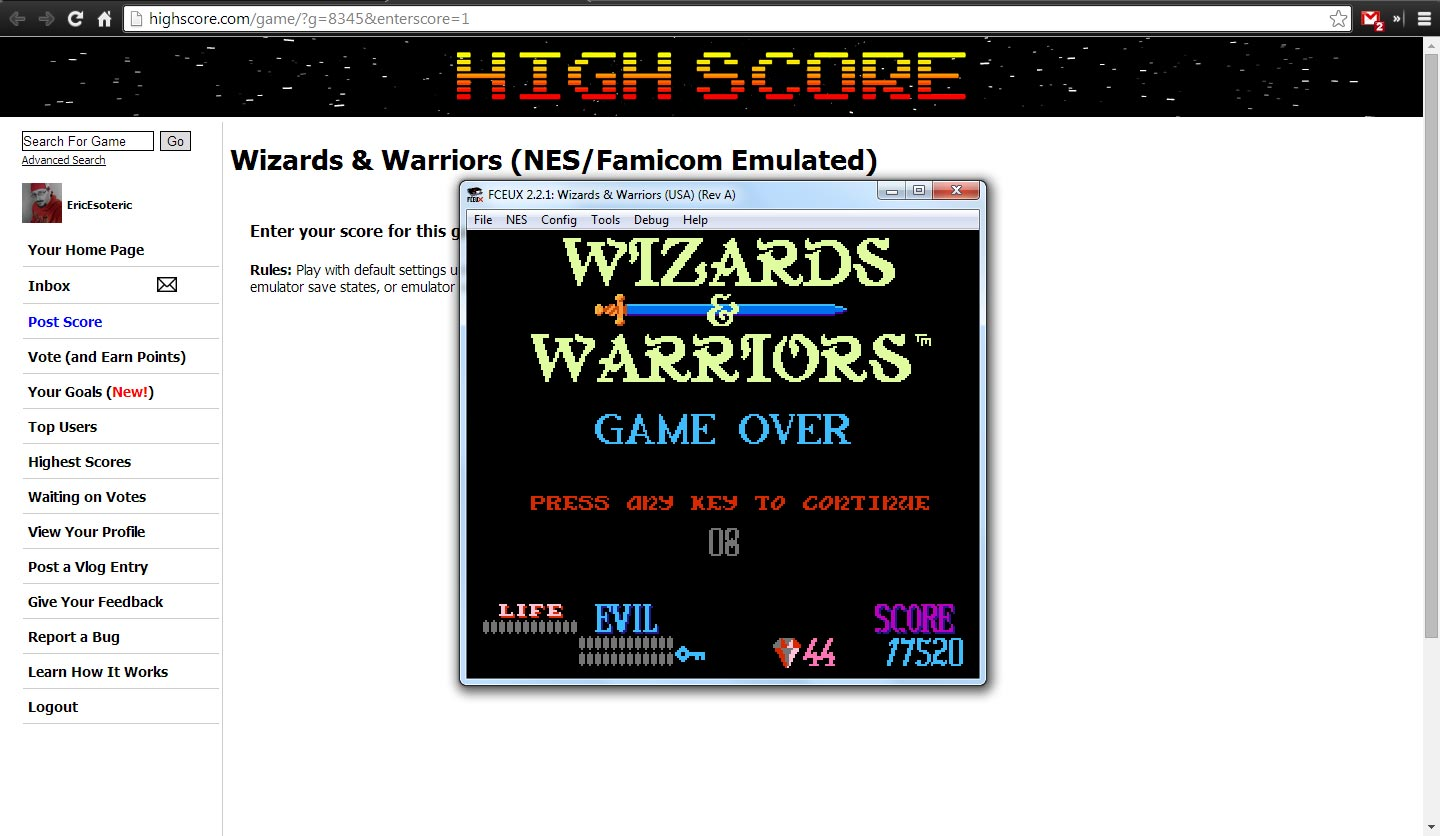 EricEsoteric: Wizards & Warriors (NES/Famicom Emulated) 17,520 points on 2014-04-25 21:29:47