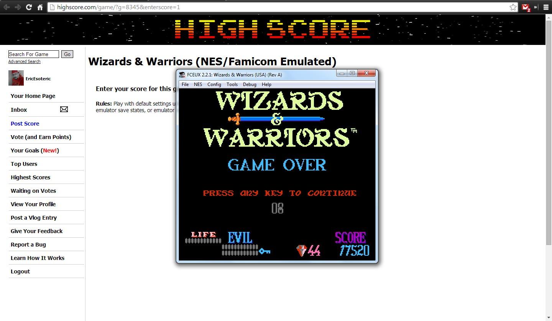 Wizards & Warriors 17,520 points