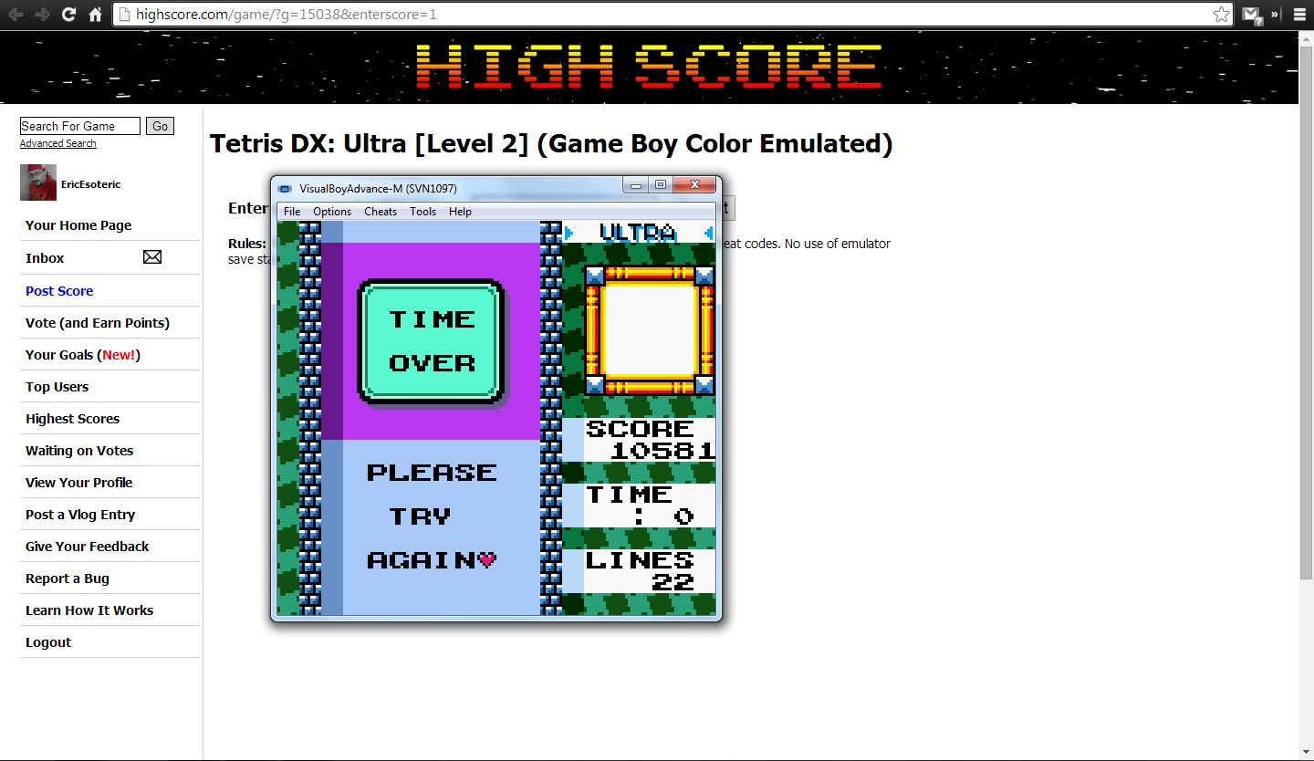 EricEsoteric: Tetris DX: Ultra [Level 2] (Game Boy Color Emulated) 10,581 points on 2014-04-25 21:45:40