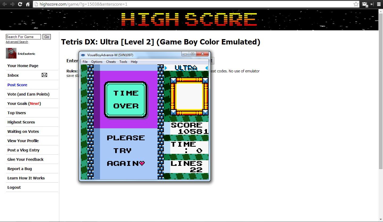 Tetris DX: Ultra [Level 2] 10,581 points