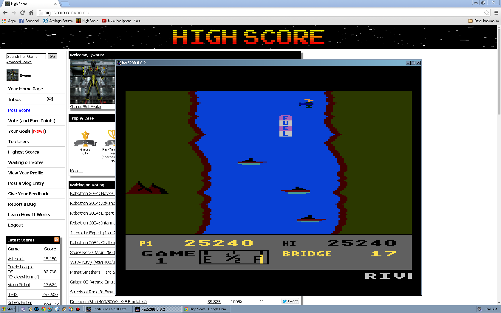 Qwaun: River Raid: Game 1 (Atari 5200 Emulated) 25,240 points on 2014-04-27 14:44:56