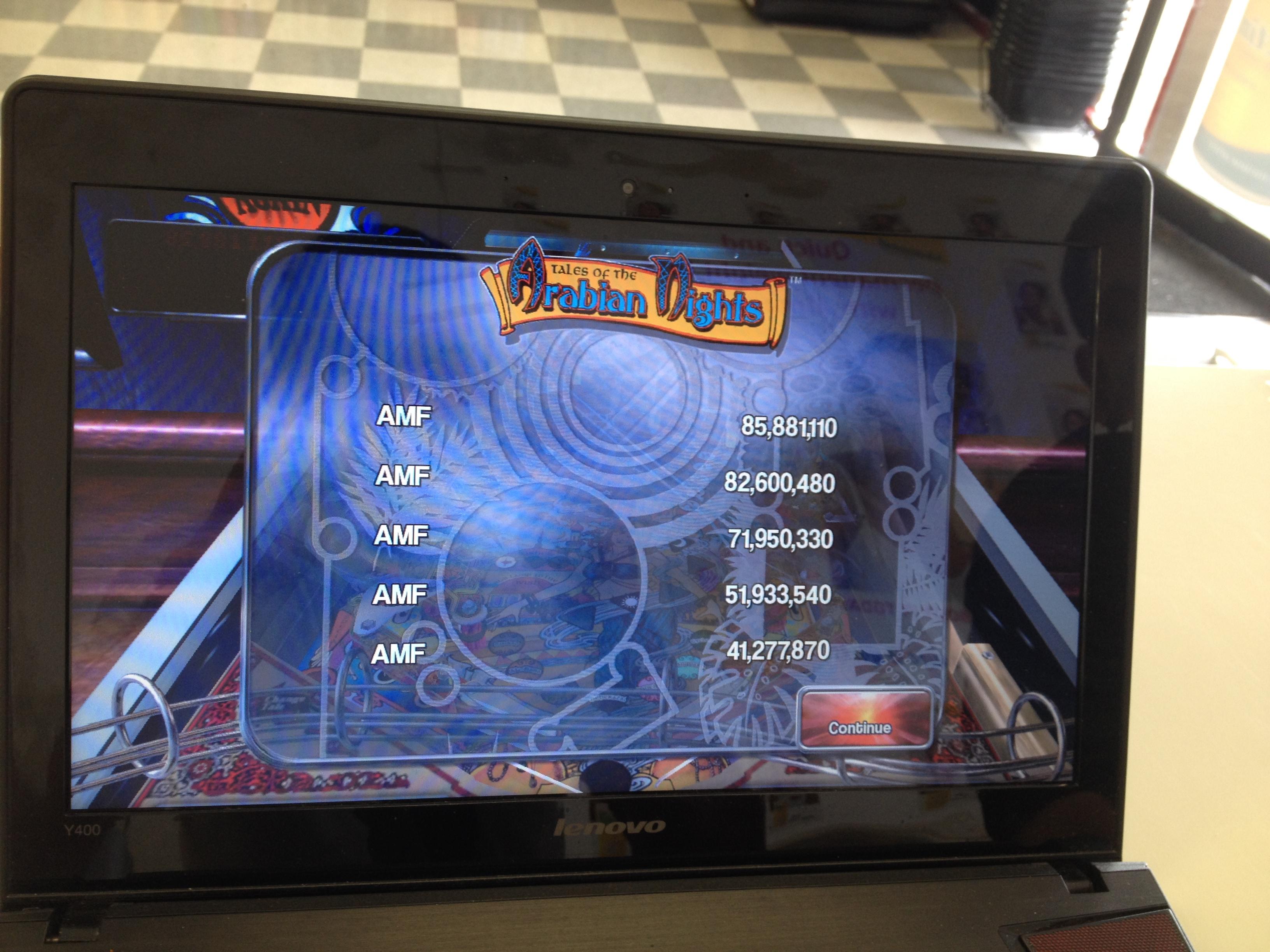 FosterAMF: Pinball Arcade: Arabian Knights (PC) 85,881,110 points on 2014-04-27 14:46:55