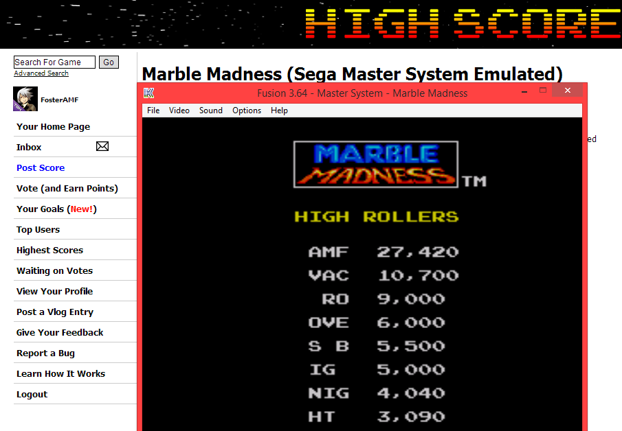 FosterAMF: Marble Madness (Sega Master System Emulated) 27,420 points on 2014-04-27 20:19:10