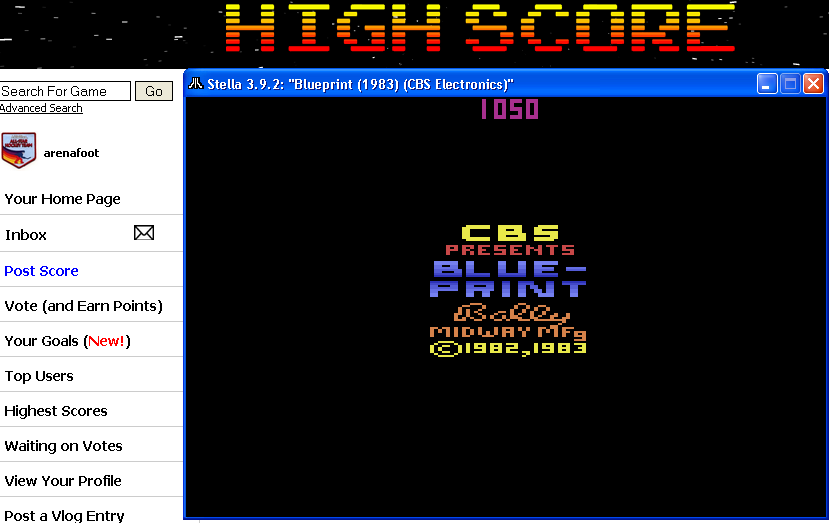 arenafoot: Blue Print (Atari 2600 Emulated) 1,050 points on 2014-04-27 23:17:18