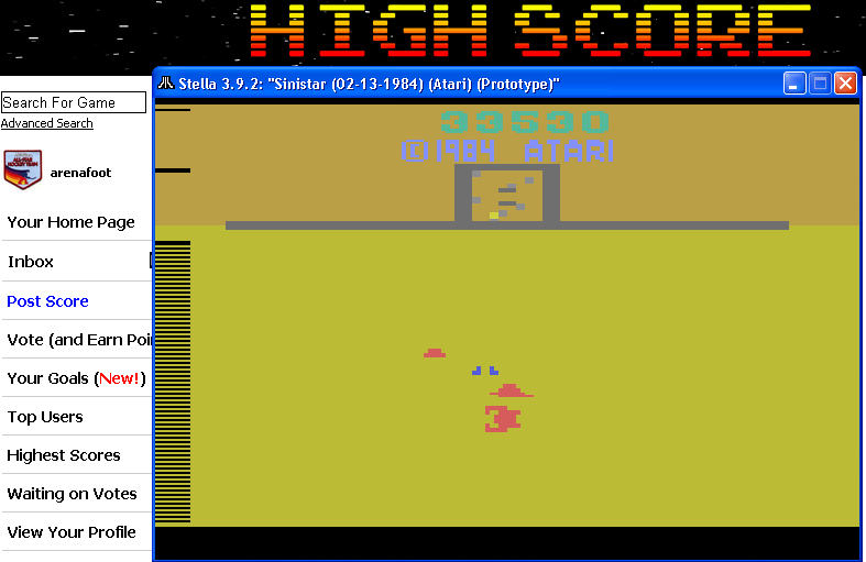 arenafoot: Sinistar (Atari 2600 Emulated) 33,530 points on 2014-04-27 23:31:24