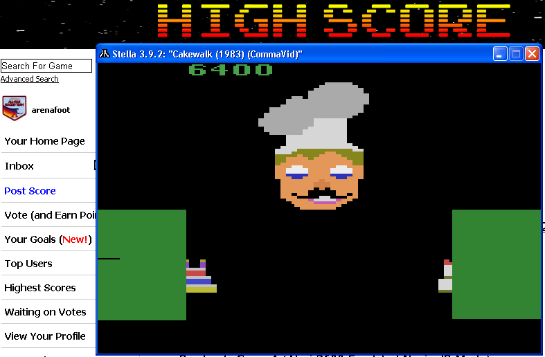 arenafoot: Cakewalk (Atari 2600 Emulated Novice/B Mode) 6,400 points on 2014-04-27 23:52:00