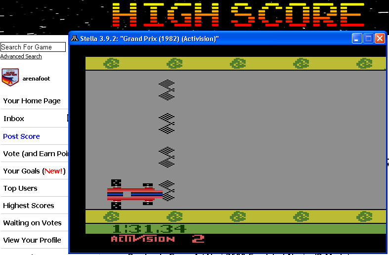arenafoot: Grand Prix: Game 2 (Atari 2600 Emulated Novice/B Mode) 0:01:31.34 points on 2014-04-28 00:05:59