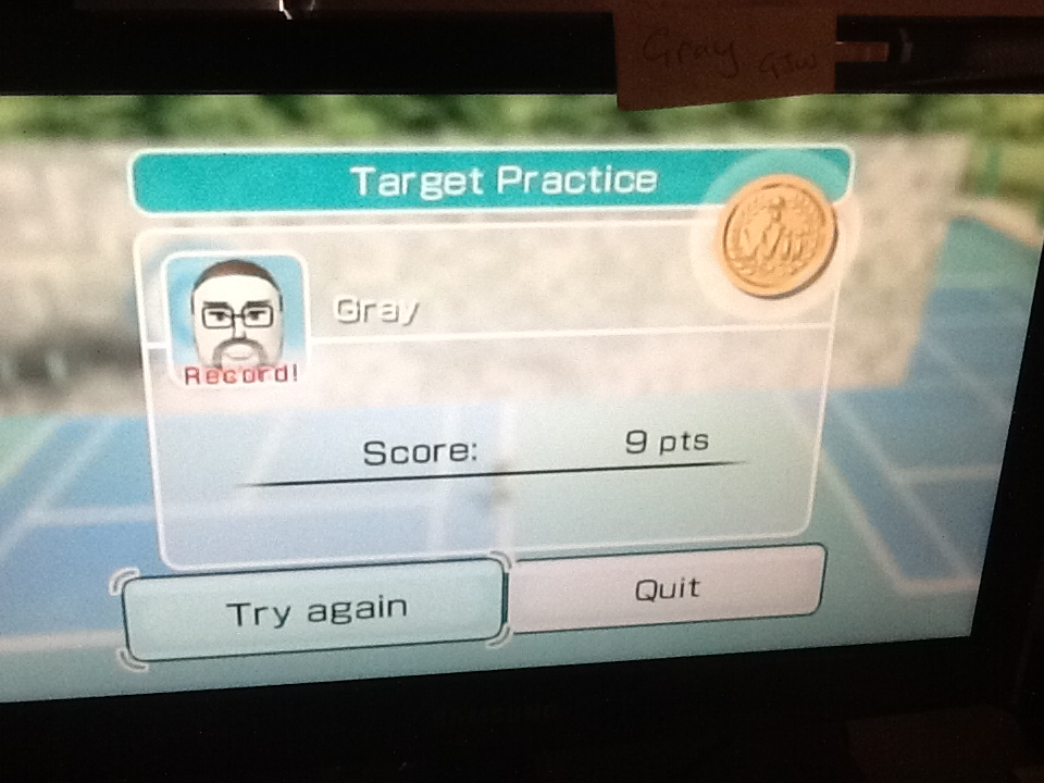 Gray: Wii Sports: Tennis [Target Practice] (Wii) 9 points on 2014-04-28 01:51:59