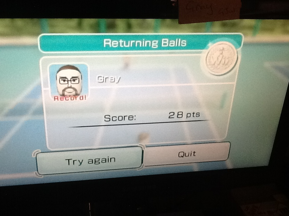 Wii Sports: Tennis [Returning Balls] 28 points