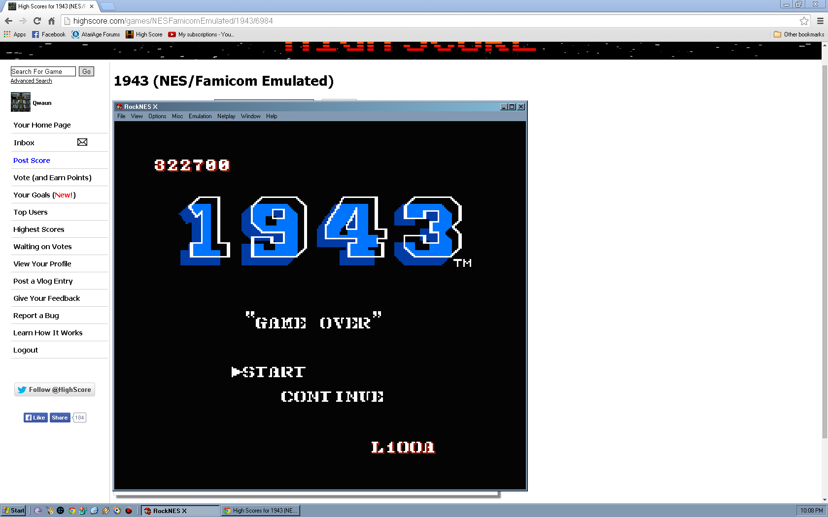 Qwaun: 1943 (NES/Famicom Emulated) 322,700 points on 2014-04-28 04:50:14