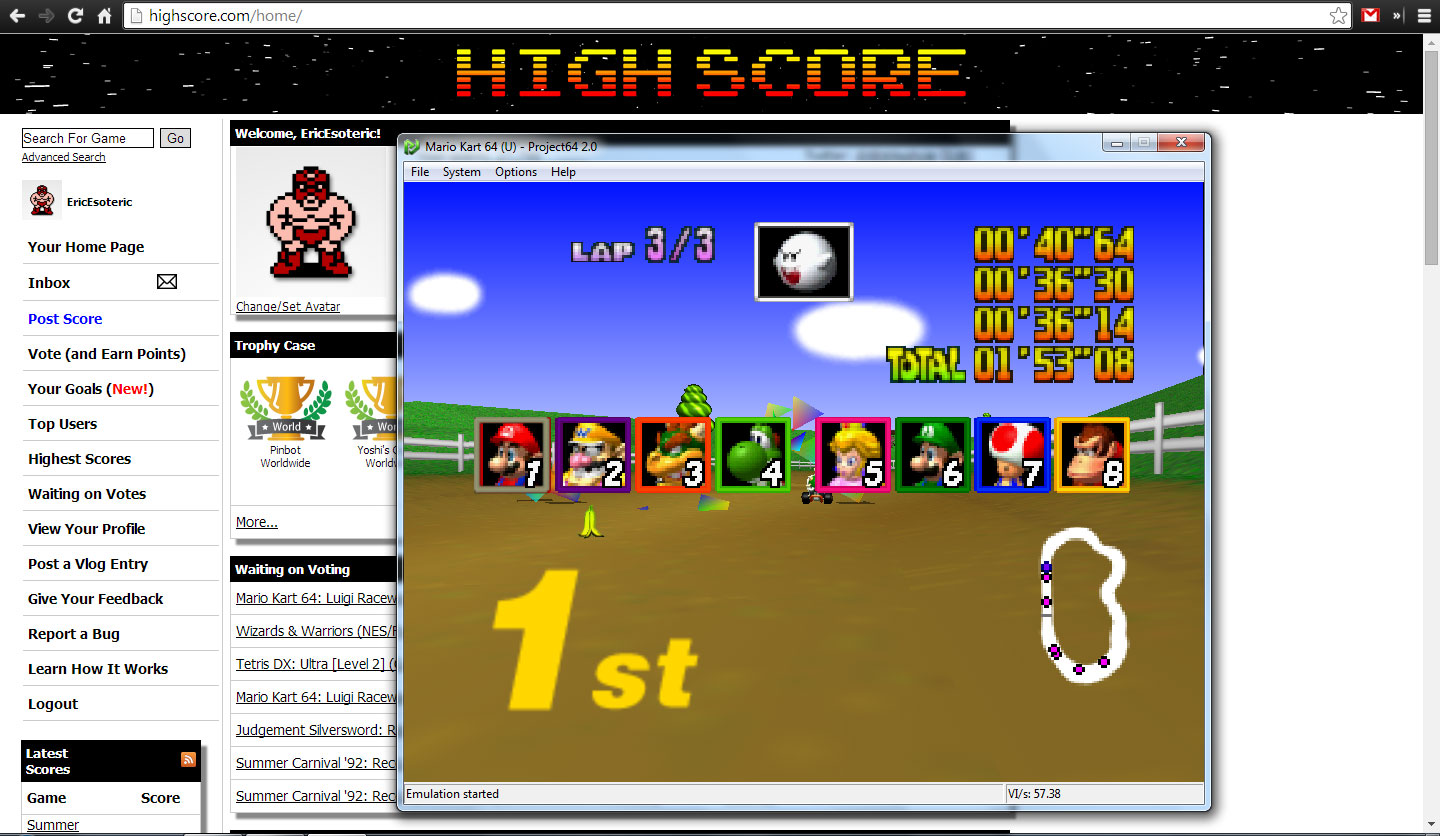 EricEsoteric: Mario Kart 64: Moo Moo Farm [50cc] (N64 Emulated) 0:01:53.08 points on 2014-04-28 20:02:50