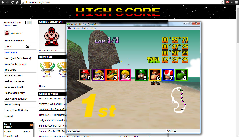 Mario Kart 64: Koopa Troopa Beach [50cc] time of 0:02:33.25