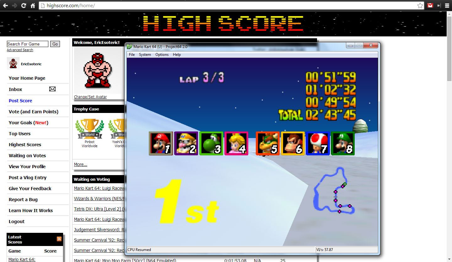 Mario Kart 64: Frappe Snowland [50cc] time of 0:02:43.45