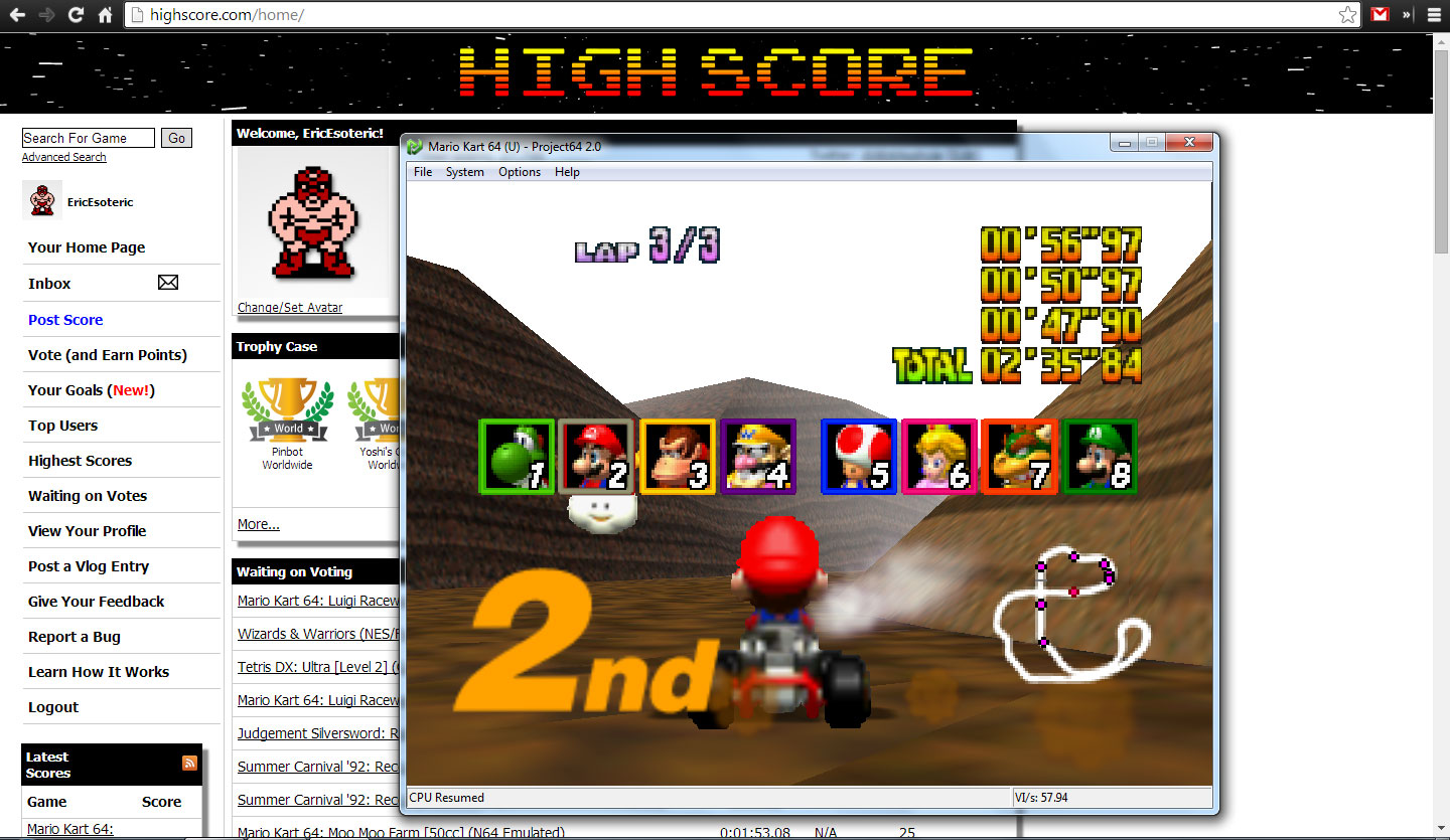 EricEsoteric: Mario Kart 64: Choco Mountain [50cc] (N64 Emulated) 0:02:35.84 points on 2014-04-28 20:43:31