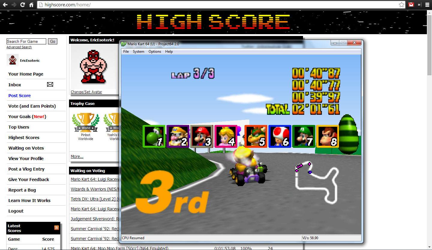 EricEsoteric: Mario Kart 64: Mario Raceway [50cc] (N64 Emulated) 0:02:01.61 points on 2014-04-28 20:49:04