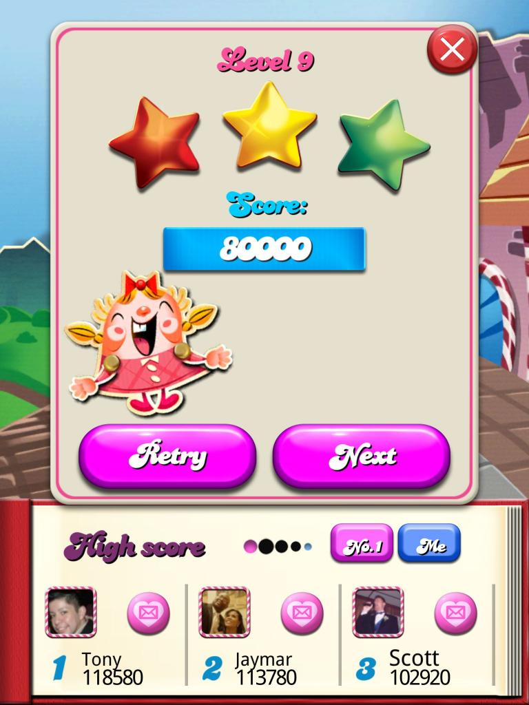 Candy Crush Saga: Level 009 80,000 points