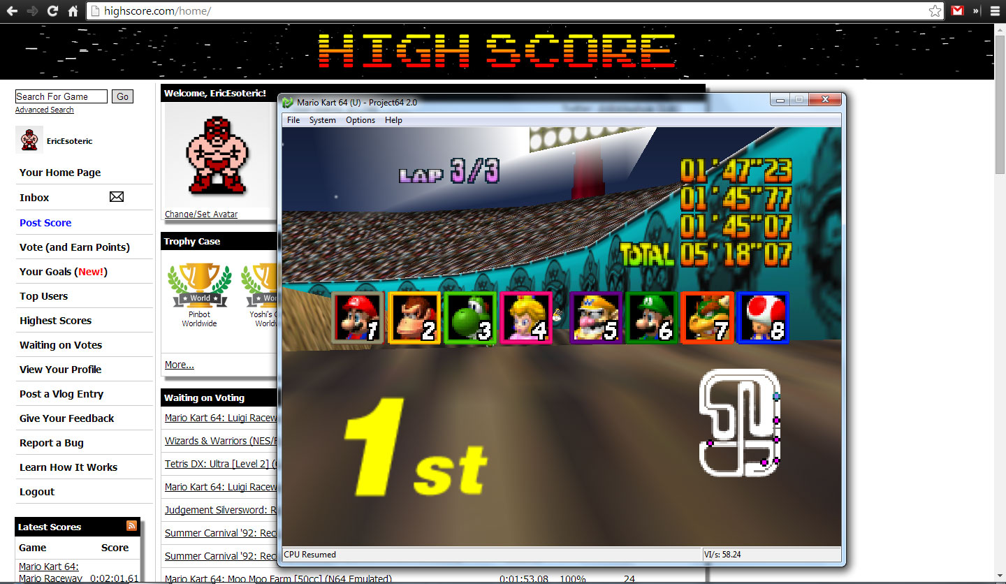 EricEsoteric: Mario Kart 64: Wario Stadium [50cc] (N64 Emulated) 0:05:18.07 points on 2014-04-28 20:59:32