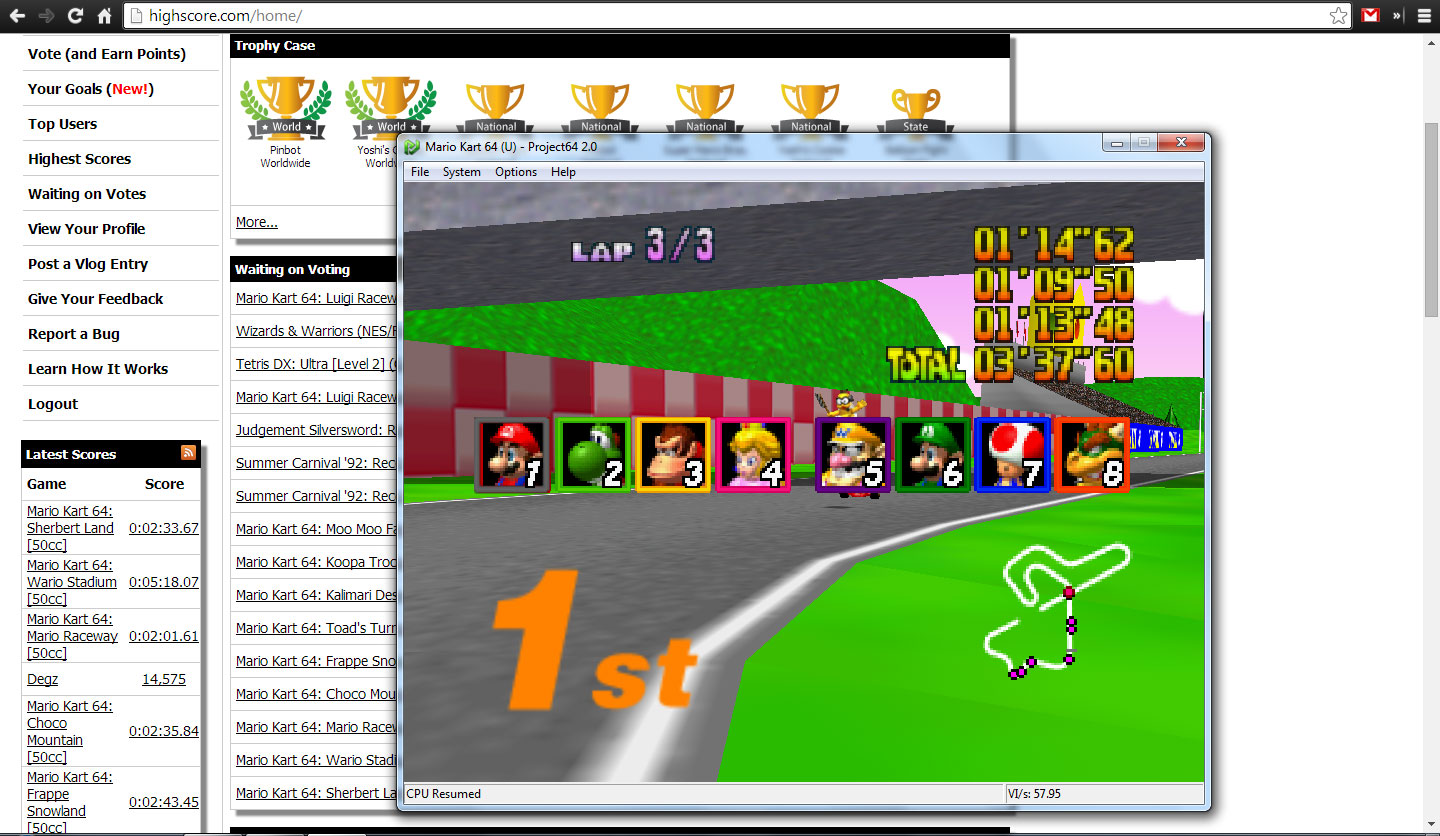 EricEsoteric: Mario Kart 64: Royal Raceway [50cc] (N64 Emulated) 0:03:37.6 points on 2014-04-28 21:22:59
