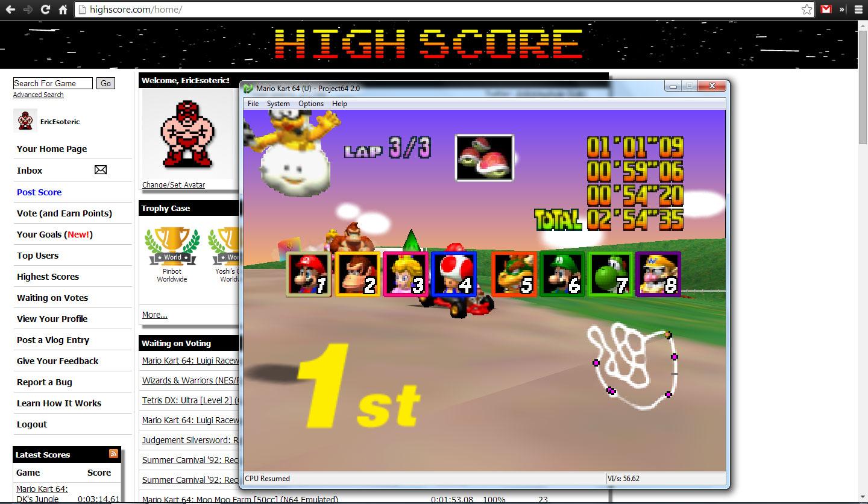 Mario Kart 64: Yoshi Valley [50cc] time of 0:02:54.35