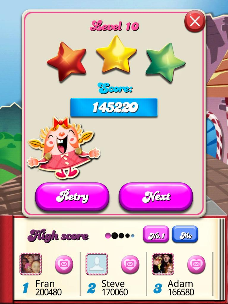 Candy Crush Saga: Level 010 145,220 points
